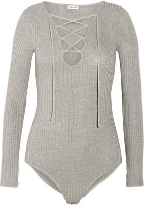 Splendid - Lace-up Ribbed Strech-knit Bodysuit - Gray $165 thestylecure.com