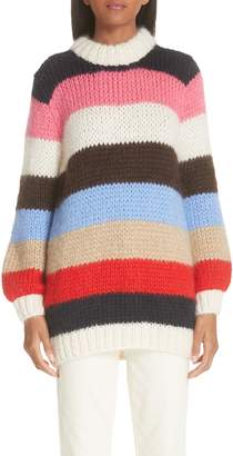 Ganni Julliard Multistripe Mohair & Wool Sweater
