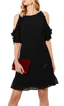 Karen Millen Cold Shoulder Ruffle Dress