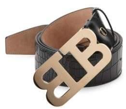 Bally Mirror B Embossed Leather Belt