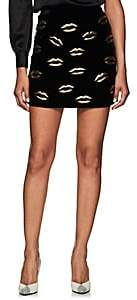 Givenchy Women's Lip-Embroidered Velvet Miniskirt - Black