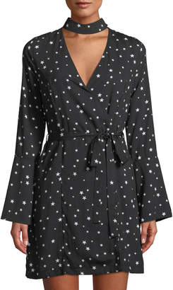 J.o.a. Star-Print Choker-Neck Wrap Dress
