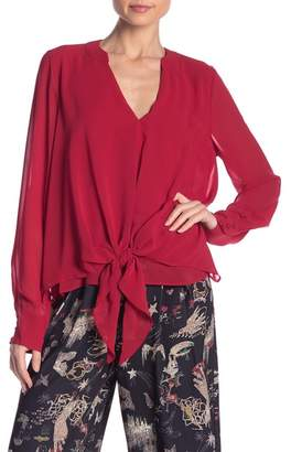 Nicole Miller New York Tie Front Chiffon Blouse