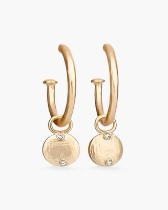 Reversible Mixed-Metal Sparkle Drop-Hoop Earrings