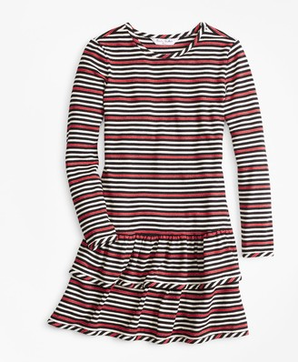 Brooks Brothers Girls Striped Ruffle Knit Dress