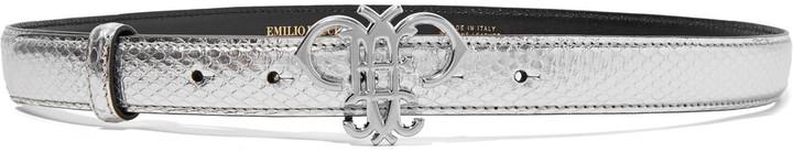Emilio PucciEmilio Pucci Metallic snake-effect leather skinny belt