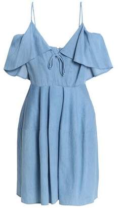 Nicholas Cold-Shoulder Ruffled Cotton-Chambray Mini Dress