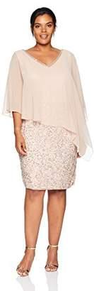 J Kara Women's Plus Size Caplet Short Cocktail Beaded Dress