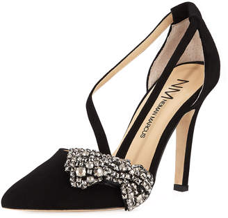 Neiman Marcus Flanna Pumps with Jeweled Bow Embellishment