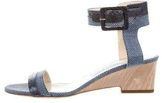 Jimmy Choo Raffia Ankle Strap Wedge