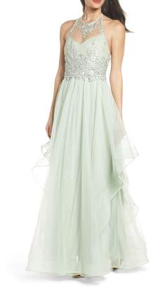 Sequin Hearts Embroidered Halter Gown