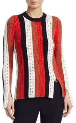 Derek Lam 10 Crosby Striped Pointelle Sweater