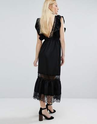 Lost Ink Deep V Dress In Satin And Lace $83 thestylecure.com