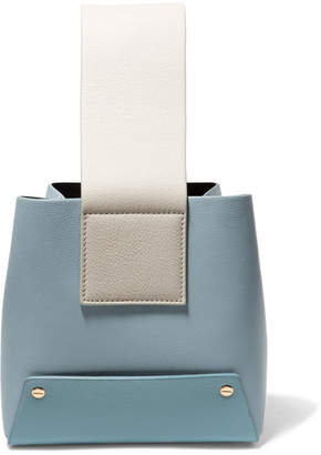 Yuzefi - Tab Color-block Textured-leather Tote - Sky blue
