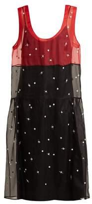 Miu Miu Scoop-neck embroidered organza dress