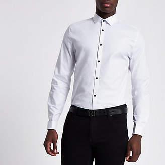 River Island White jacquard slim fit shirt
