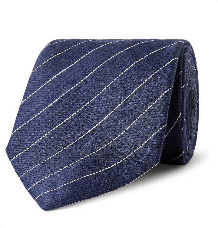 Alfred DunhillDunhill 7.5cm Striped Linen and Mulberry Silk-Blend Tie