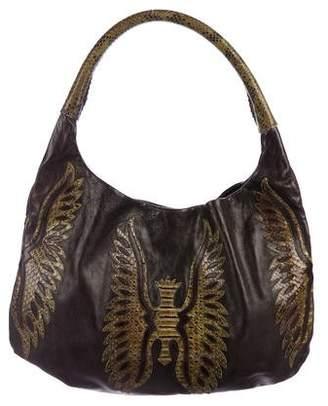 Devi Kroell Python-Trimmmed Leather Hobo