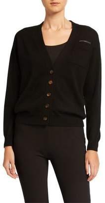 Brunello Cucinelli V-Neck Button-Front Cashmere Cardigan w/ Monili Trim