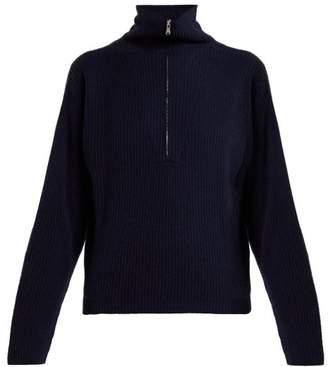 Allude - Half Zip Ribbed Cashmere Sweater - Womens - Dark Navy