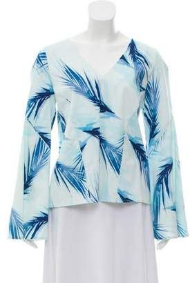 Zac Posen Printed Long Sleeve Top