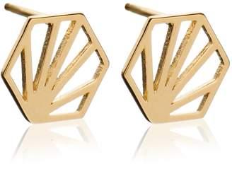 Rachel Jackson London - Small Hexagon Earrings Gold