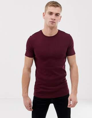 Asos DESIGN muscle fit t-shirt in waffle in red