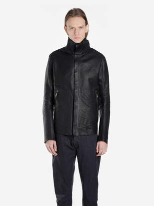 MEN'S BLACK LEATHER ZIPPED JACKET