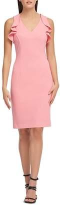 Donna Karan Ruffled Scuba Crepe Dress