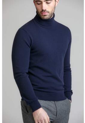 Johnstons of Elgin Navy Contemporary Classic Roll Neck Mens Cashmere Jumper