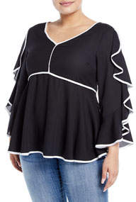 Bell-Sleeve Contrast Piped Ruffle Blouse Plus Size