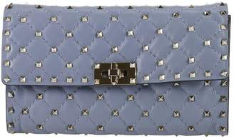 Valentino Mini Bag Rockstud Spike Clutch In Lambskin With Studs And Shoulder Strap