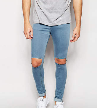Reclaimed Vintage Super Skinny Jeans With Knee Cut Outs