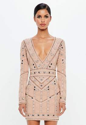 Missguided Nude Geo Embellished Plunge Mini Dress