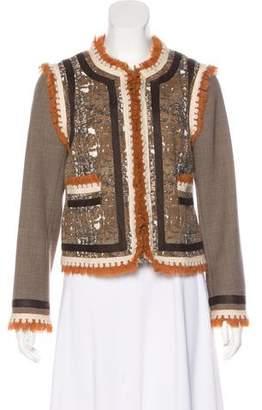 Tory Burch Tweed Fringe-Accented Blazer