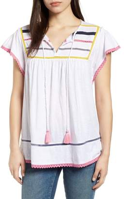 Caslon Embroidered Inset Knit Top