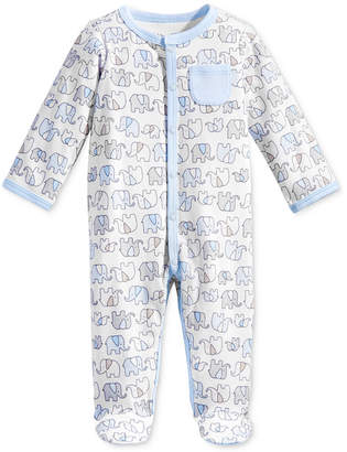 First Impressions 1-Pc. Elephant-Print Footed Coverall, Baby Boys, Created for Macy's