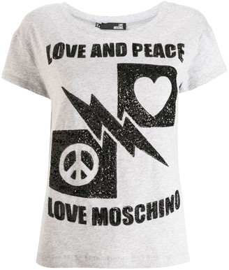 Love Moschino Peace & Love sequins T-shirt