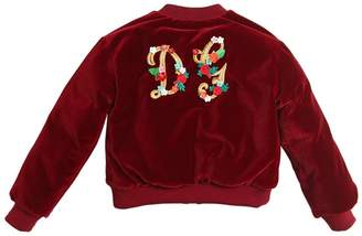 Dolce & Gabbana Cotton Velvet Down Bomber Jacket