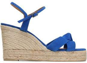 Castaner Woman Knotted Suede Espadrille Wedge Sandals Blue Size 39