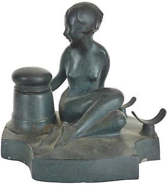 One Kings Lane Vintage Art Deco Frankart Figural Lady Inkwell