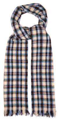 Isabel Marant Isidore Checked Wool Blend Scarf - Mens - Blue