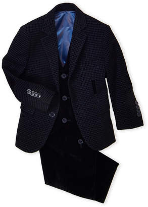 Isaac Mizrahi Toddler Boys) 3-Piece Flocked Jacquard Vested Suit