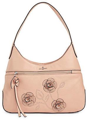 Karl Lagerfeld PARIS Martina Studded Flower Pebbled Leather Hobo Bag