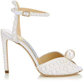 Jimmy Choo SACORA 100 White Satin Sandals with All Over Pearls