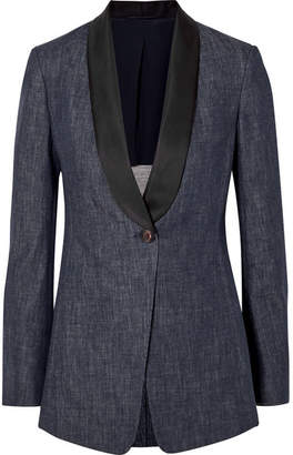 Brunello Cucinelli Satin-trimmed Denim Blazer - Blue