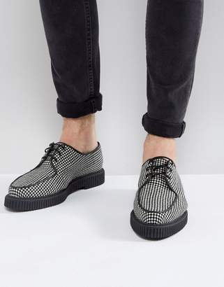 Asos Design Lace Up Creeper Shoes In Checkerboard Textile