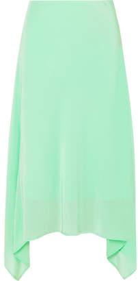 Sies Marjan Asymmetric Silk Crepe De Chine Midi Skirt - Light green