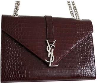 Saint Laurent Satchel monogramme Burgundy Leather Handbags
