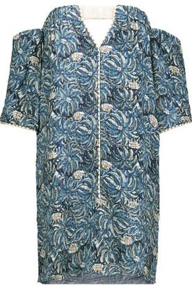 Vix Jakarta Cordon Off-The-Shoulder Printed Textured-Gauze Mini Dress $248 thestylecure.com